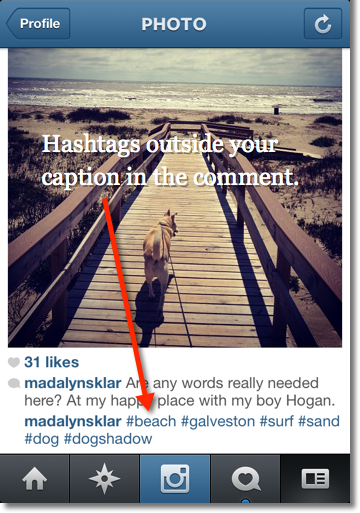 Hashtags outside your caption in the comment (less cluttered)