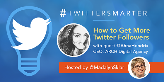 #TwitterSmarter chat with Ahna Hendrix
