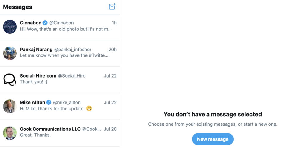 updated Twitter DMs