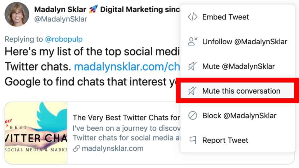 mute conversation on Twitter