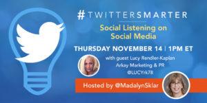 Social Listening on Social Media - #TwitterSmarter chat with Lucy Rendler-Kaplan - November 14, 2019