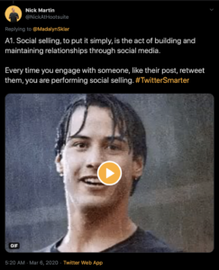 A1. Social selling, to put it simply, is the act of building and maintaining relationships through social media. Every time you engage with someone, like their post, retweet them, you are performing social selling.