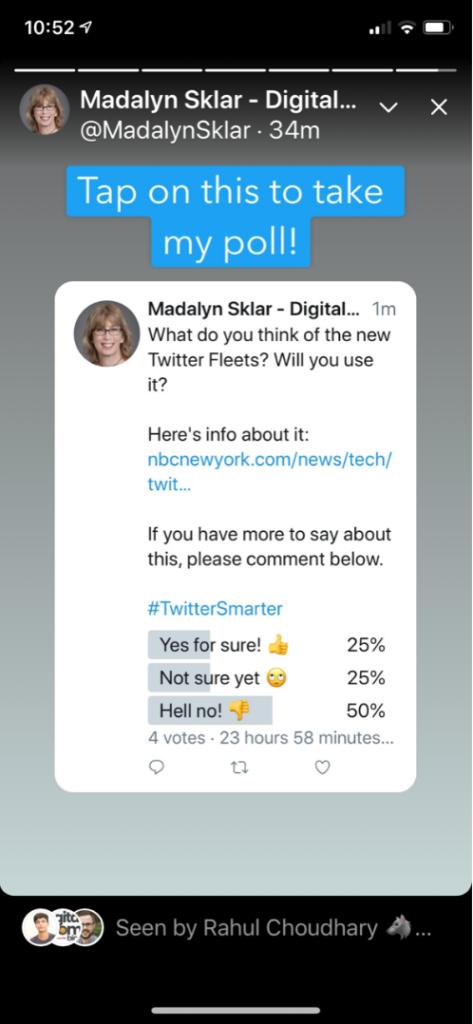 poll on Twitter Fleets