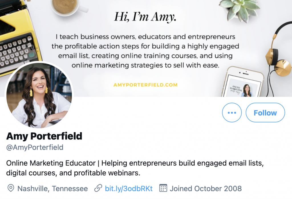 screenshot of Amy Porterfield's Twitter profile