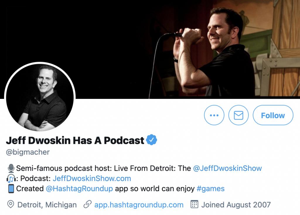 screenshot of Jeff Dwoskin's Twitter profile