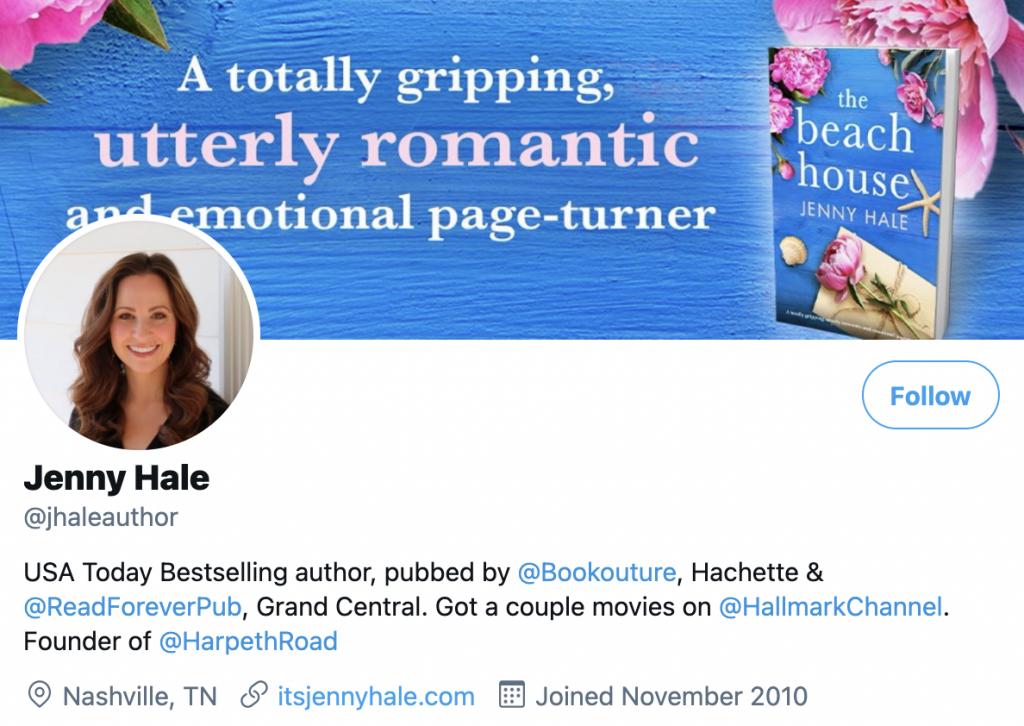 screenshot of Jenny Hale's Twitter profile