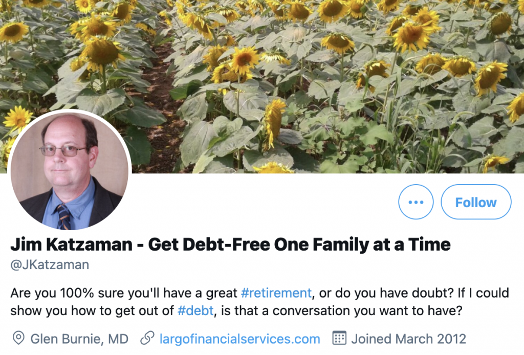 screenshot of Jim Katzaman's Twitter profile