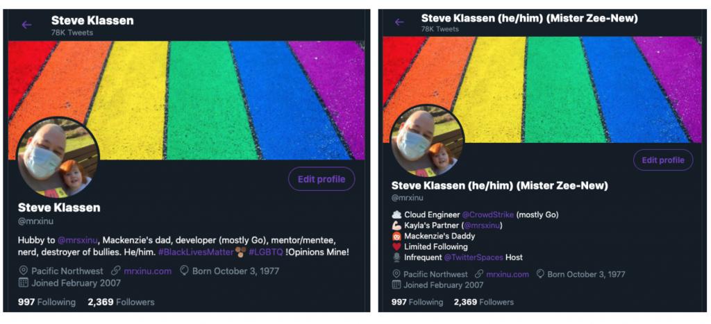 screenshot of Steven Klassen's Twitter bio