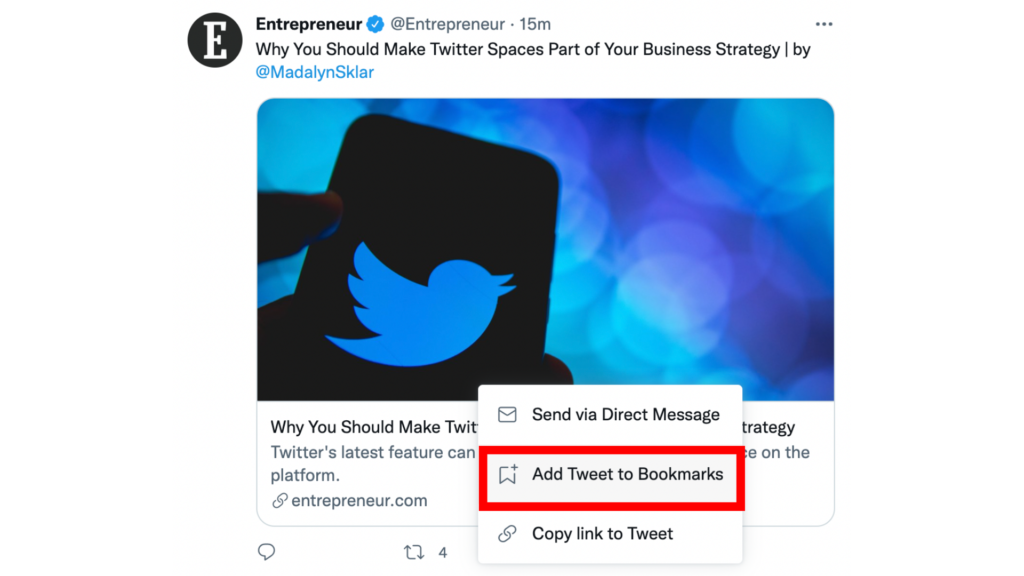 a screenshot of a tweet with the bookmark button highlighted