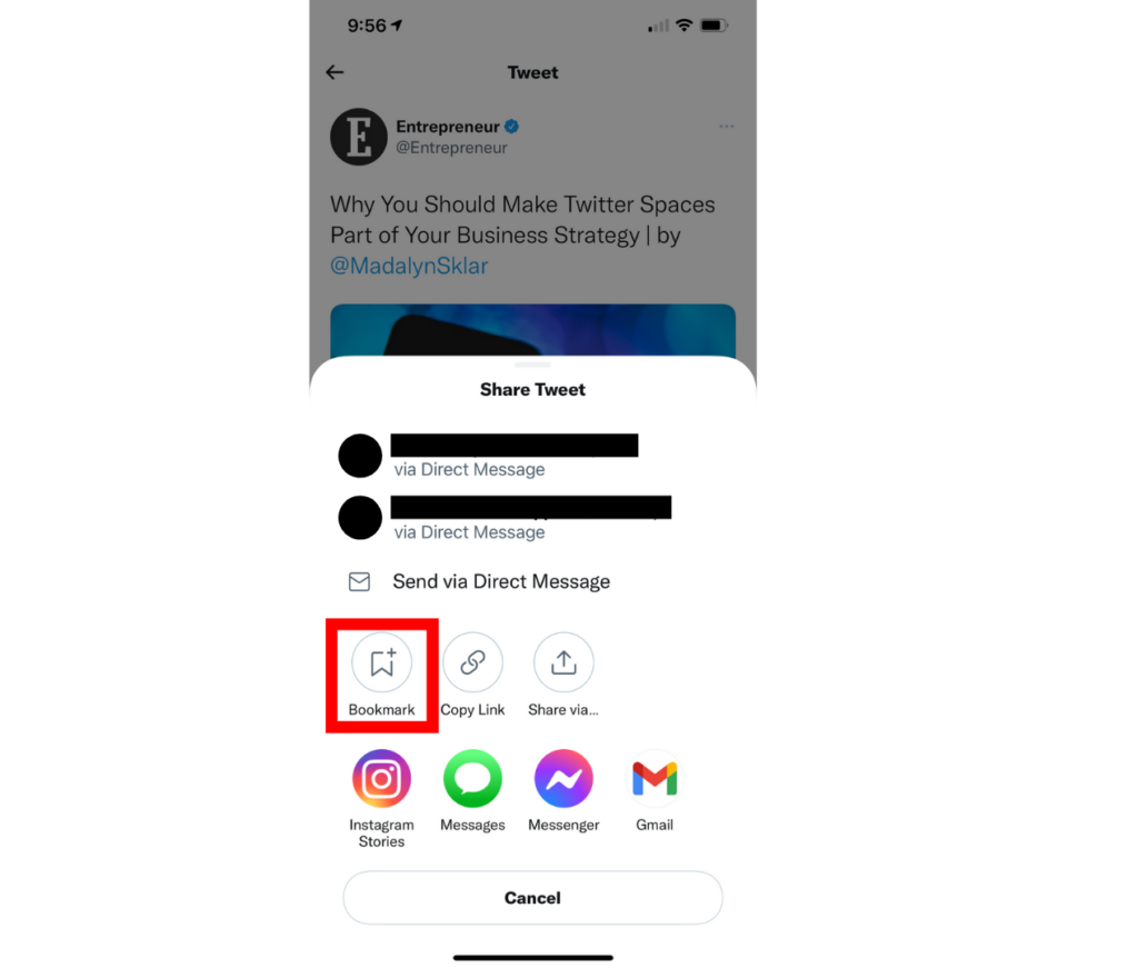 a screenshot showing how to bookmark a tweet on mobile