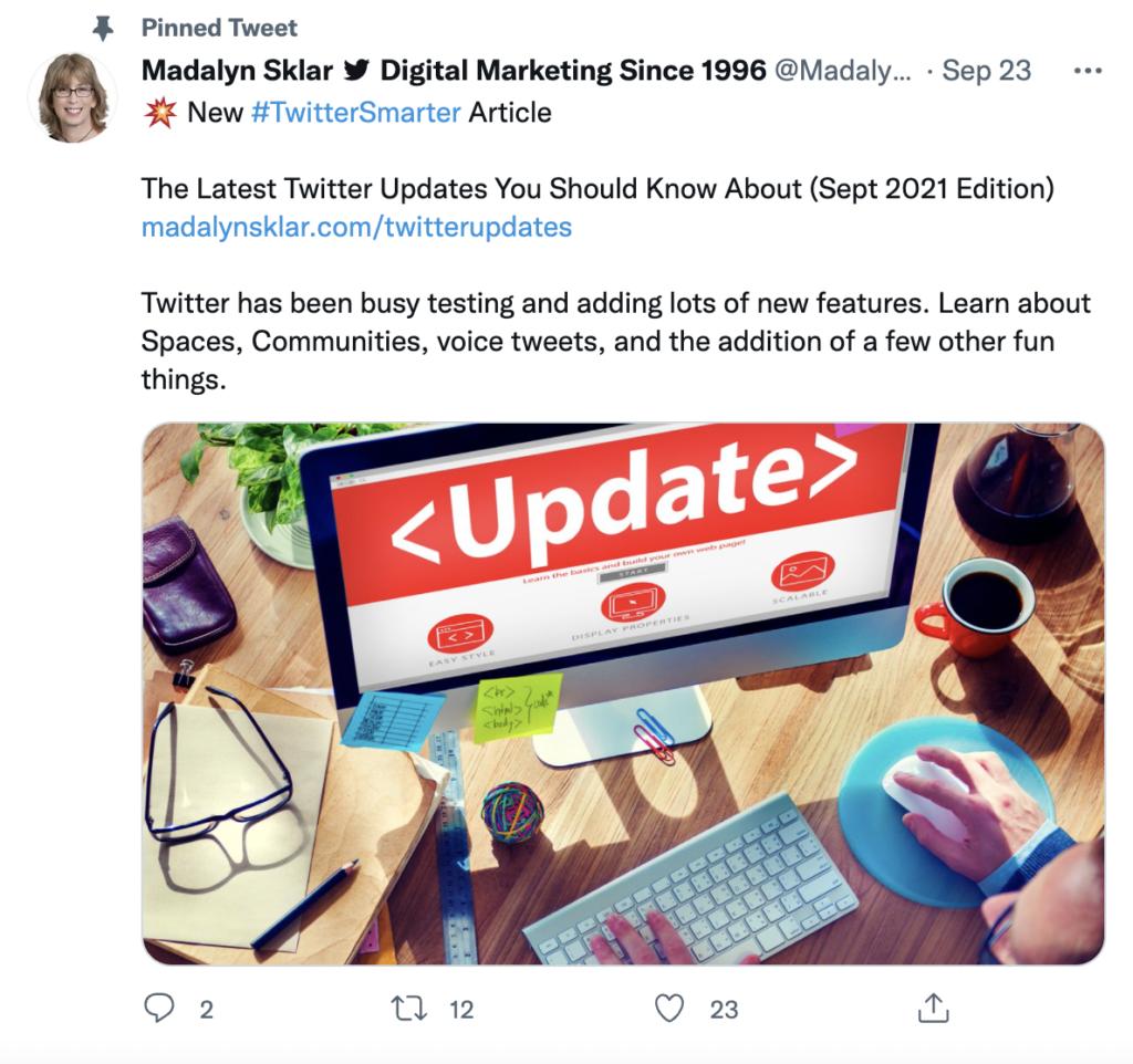 screenshot of what a pinned tweet looks like on a Twitter profile
