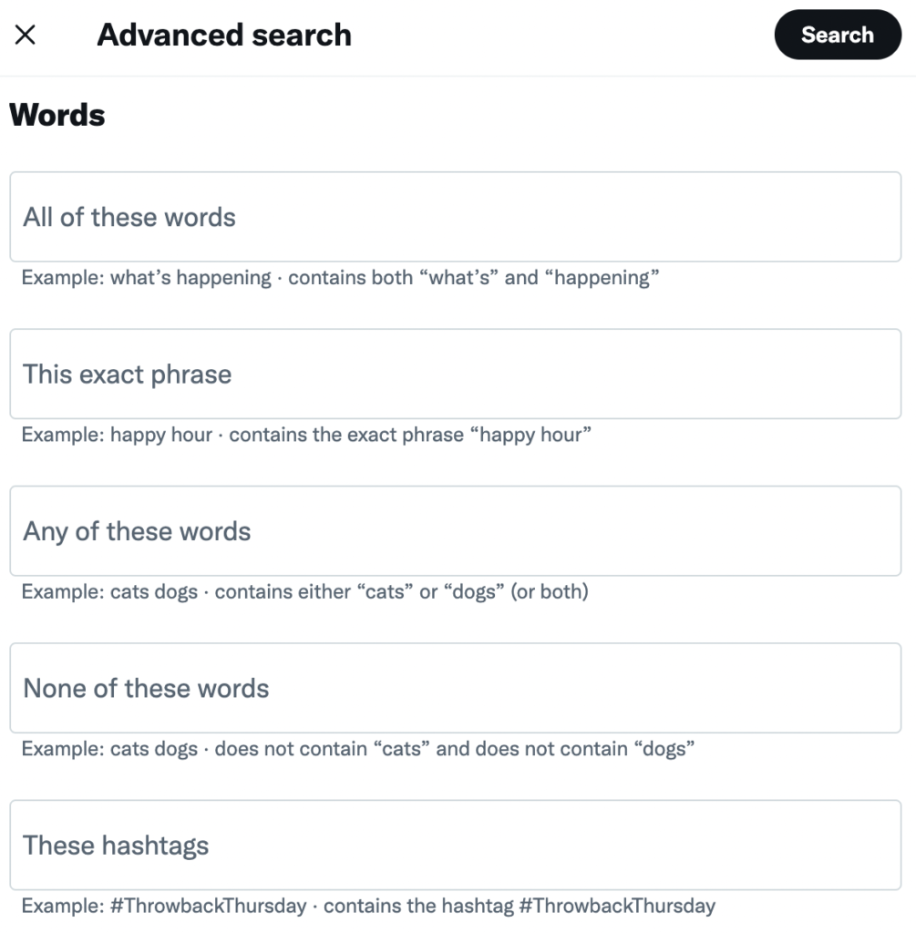 screenshot of the prompts inside the Twitter Advanced Search feature