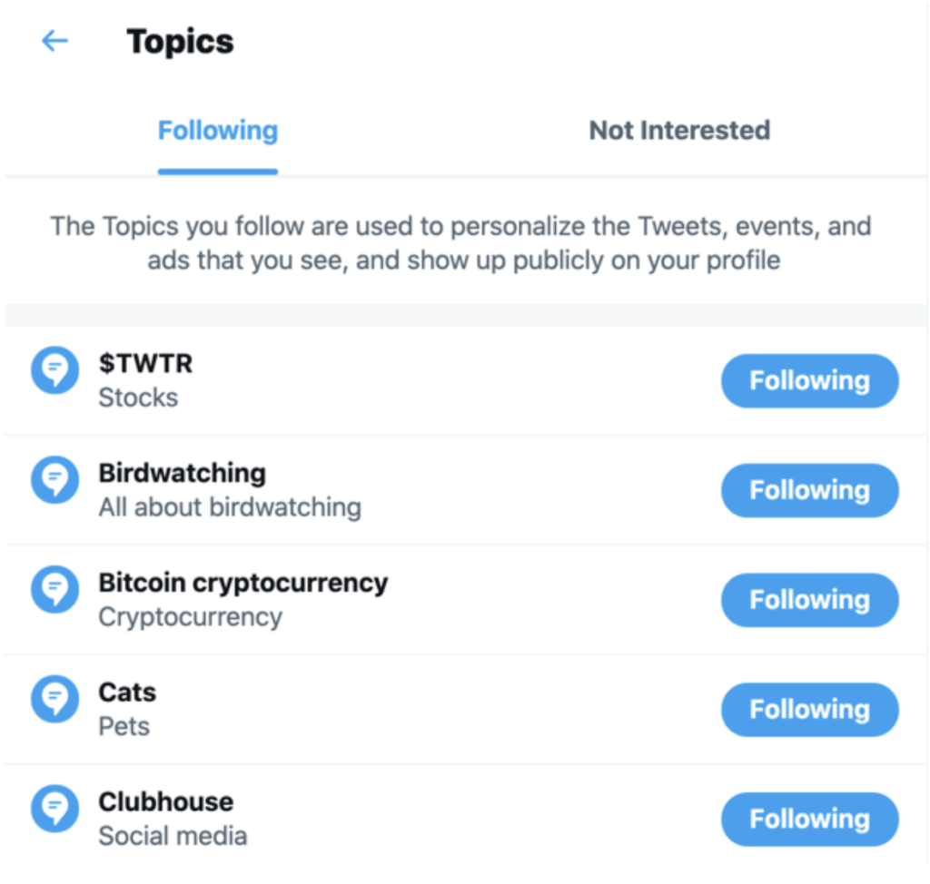screenshot of topics a user is following on Twitter