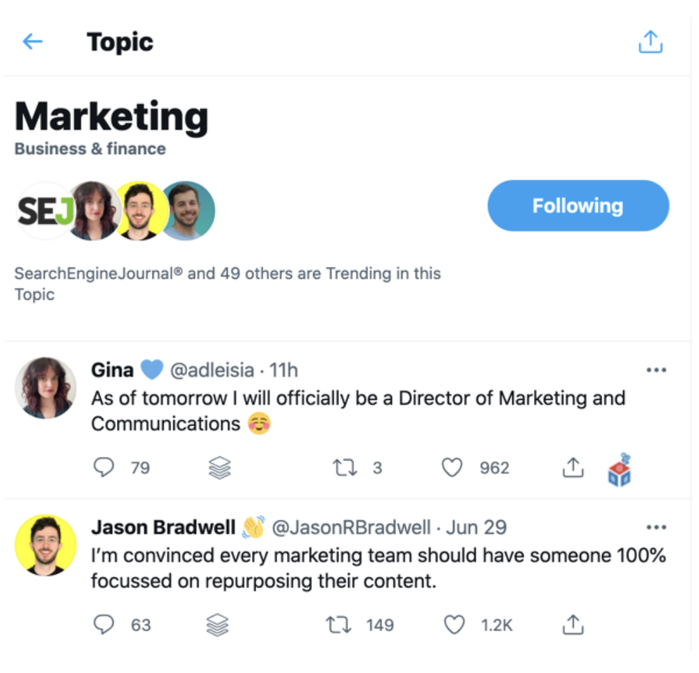 screenshot of tweets from a followed topic on Twitter