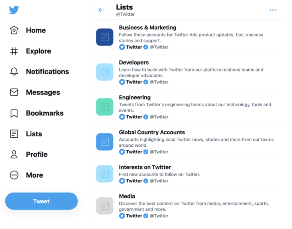 screenshot of the Twitter lists created by the official Twitter account