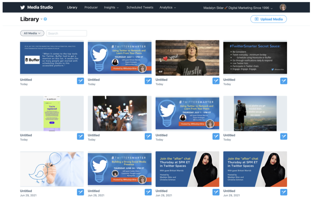screenshot of the media library inside Twitter Media Studio
